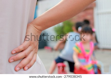 Mother scolds her son - stock photo