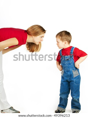 Mother scolds her son on white background - stock photo