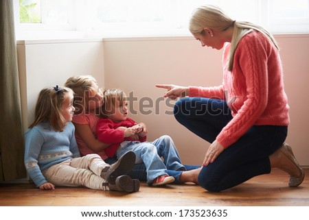 Mother Shouting At Young Children - stock photo