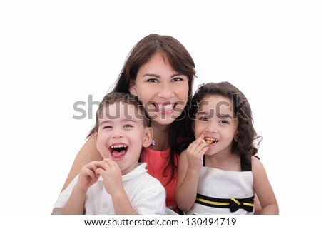 Mother, son and daughter having fun on a white background. - stock photo