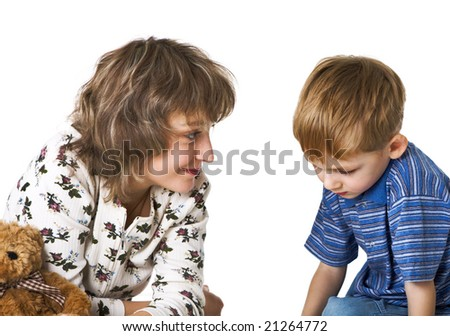 Mother talks to guilty son - stock photo
