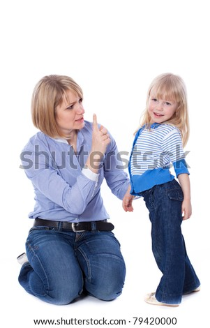 Mother teaching child, isolated - stock photo