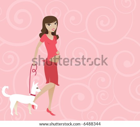 Mother-to-be with her dog on a leash... taking a leisurely walk & showing her belly - all in pink with a pink swirly background - stock photo