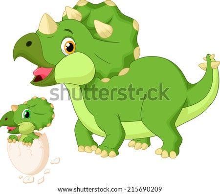 Mother triceratops with baby hatching  - stock photo