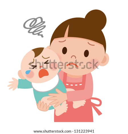 Mother trying to calm her crying baby - stock photo