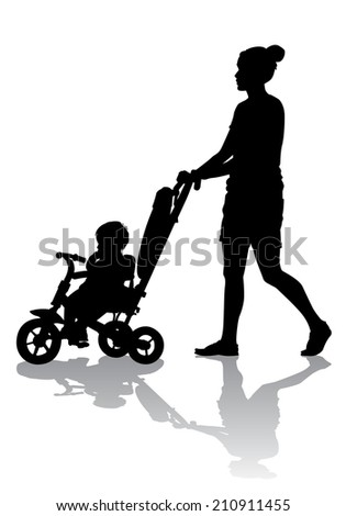 Mother walks with the kids and a stroller  - stock photo