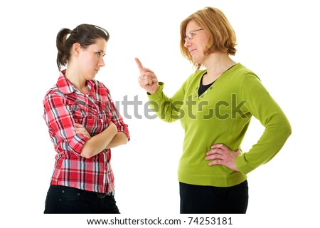 mother warn her daughter for bad behavior, isolated on white - stock photo