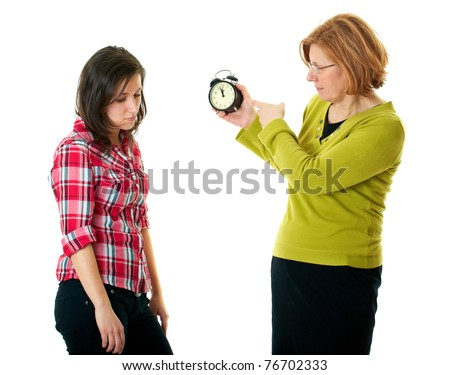 mother warn her daughter for being late, isolated on white - stock photo