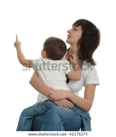 Mother watches where her little son is pointing out by finger, isolated on white - stock photo