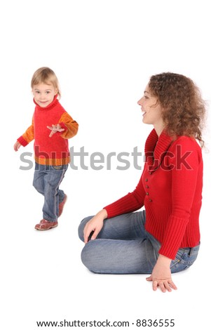 Mother watching daughter steping - stock photo