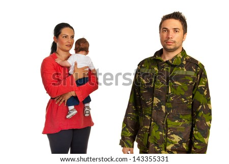 Mother with baby come to military father in front of image isolated on white background