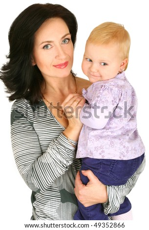 Mother with baby girl on white background