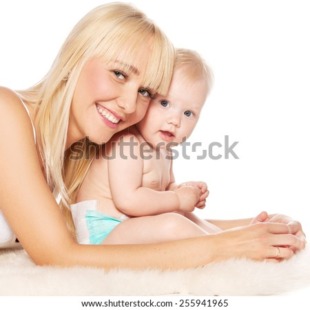 Mother with baby isolated on white background - stock photo