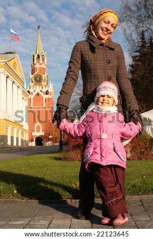 mother with child in Kremlin - stock photo