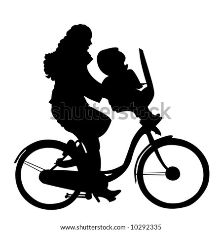 mother with child riding bicycle - stock photo