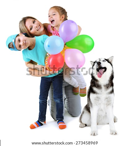 Mother with children and cute dog isolated on white - stock photo