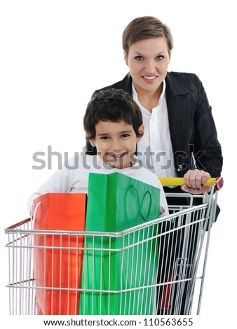 Mother with children in shopping - stock photo