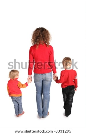 mother with children stand back isolated on white