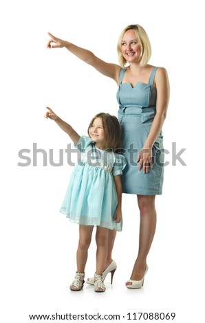 Mother with daughter isolated on white - stock photo