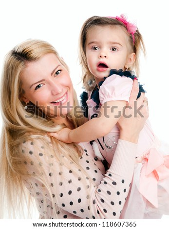 Mother with daughter osolated on white background - stock photo