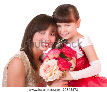 Mother with daughter with pink roses on white background