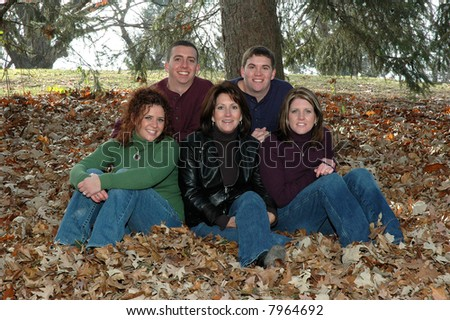 mother with grown children - stock photo