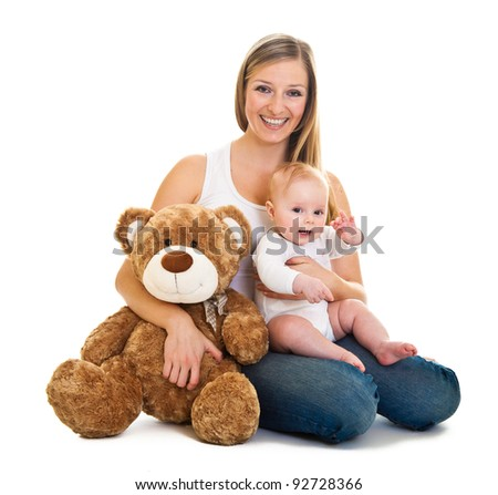 Mother with happy and cute infant baby girl isolated on white - stock photo