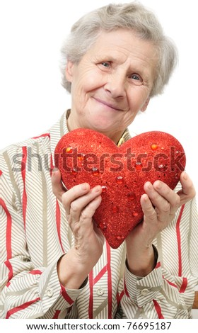 mother with heart. over white - stock photo