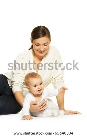 Mother with her adorable baby - stock photo