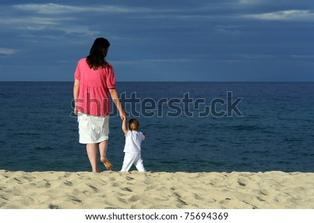 Mother with her adorable baby at beach
