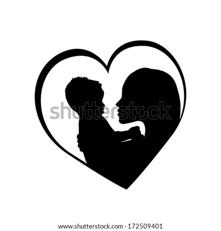 mother with her baby in the heart. Raster - stock photo