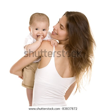 mother with her baby on white isolated background - stock photo