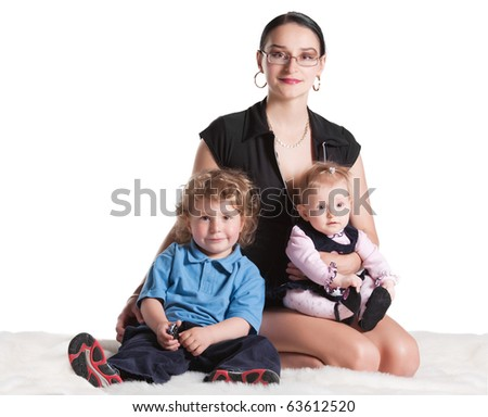 mother with her children - stock photo