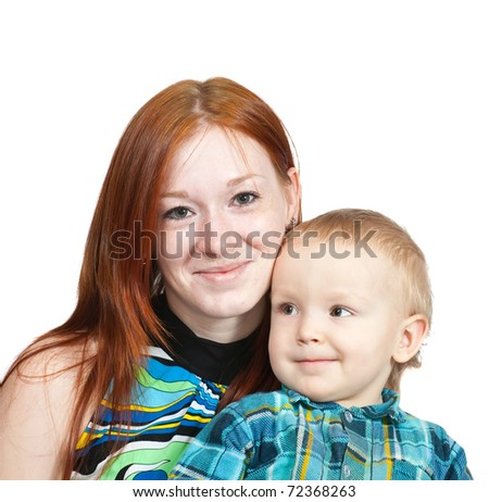 mother with her son. Isolated over white background