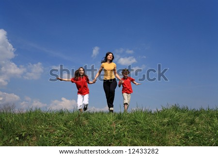 Mother with kids running