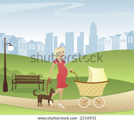 Mother with one on the way - taking a stroll through the park with stroller and dog - city and homes in the distance - stock photo