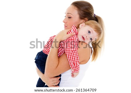 Mother with small resentful baby on a white background. - stock photo
