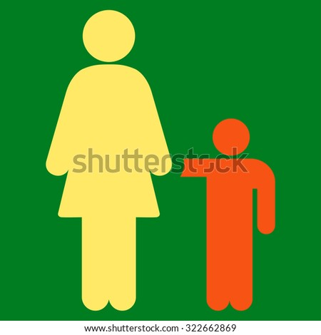 Mother With Son glyph icon. Style is bicolor flat symbol, orange and yellow colors, rounded angles, green background.