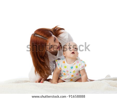Mother with sweet small baby on a white background.