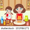 Mother with the daughter cook dough. Raster illustration. - stock vector
