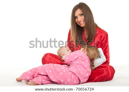 mother with two children little girl and baby boy - stock photo