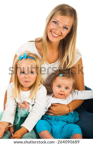 Mother with two young daughters