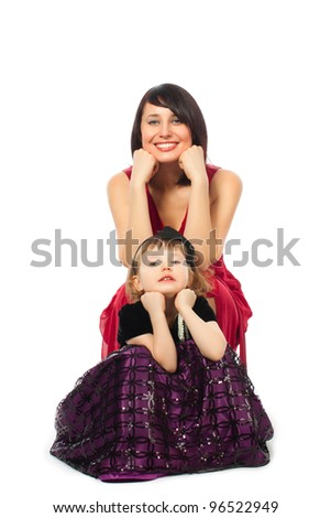 Mother woman girl daughter sitting love family