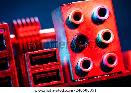 motherboard audio input output - stock photo