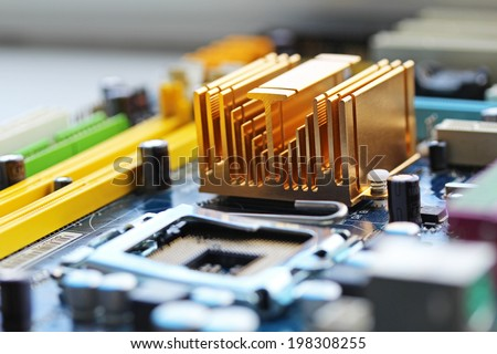 Motherboard chipset close up - stock photo