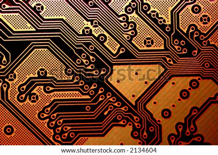 Motherboard, circuit of high technology. - stock photo