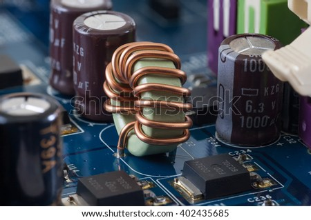 motherboard, computer electronics - dimmer, closeup and macro - stock photo