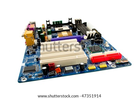 motherboard computer isolated on a white background - stock photo