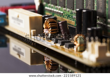 Motherboard ferrite ring - stock photo