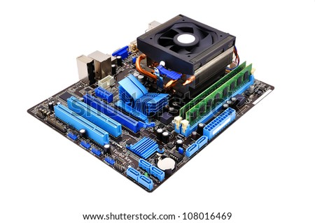 motherboard is on a white background - stock photo